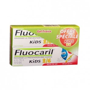 Fluocaril kids dentifrice enfant 2/6ans gel fraise duo 50ml