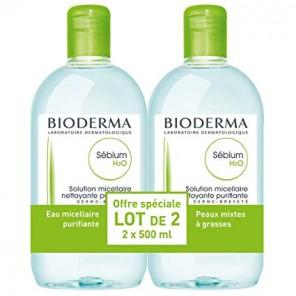 Bioderma Sébium H2O Eau micellaire 500ml x2